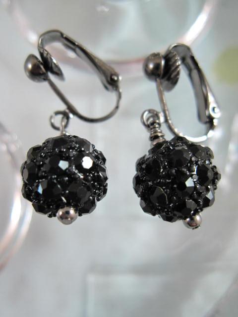 Clips örhängen med Kristaller - Svart/Shamballa