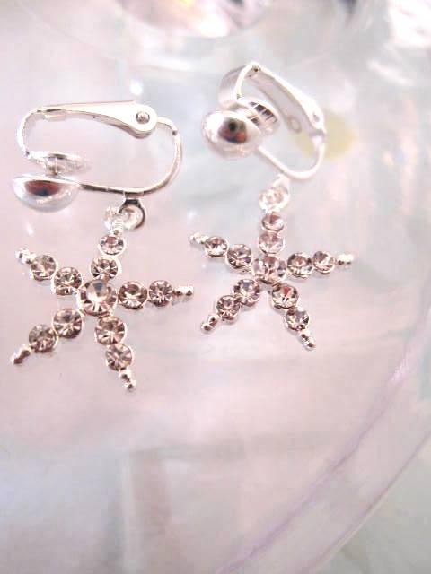 Clips örhängen med Diamante Strass Stjärna 3 cm