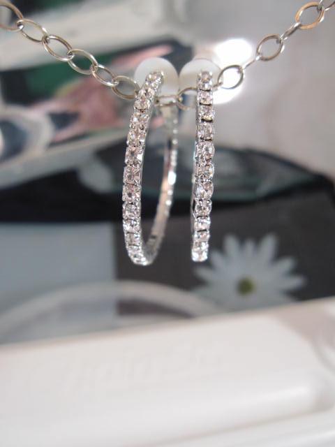 Clips creoler örhängen med Strass 3 cm