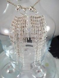 Clips örhängen med strass - Långa/Tofsar