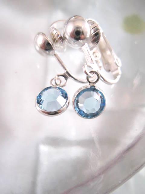 Clips örhängen med Swarovskikristaller - Ljusblå