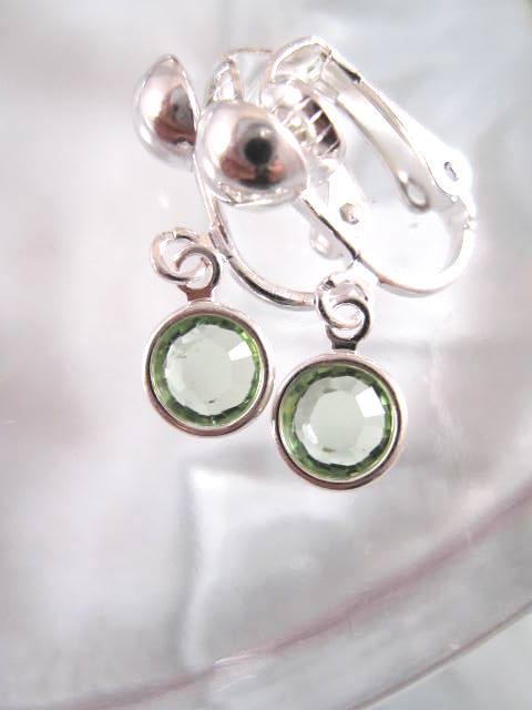 Clips örhängen med Swarovskikristaller - Ljusgrön