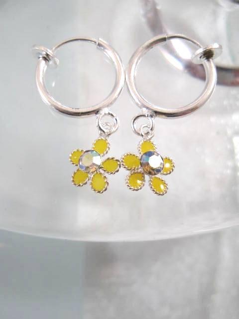 Clips creoler örhängen med Emalj o Kristaller - Gul Blomma