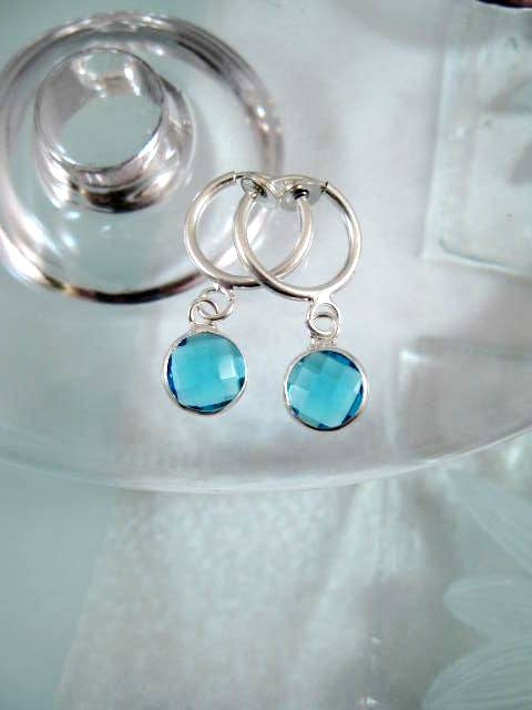 Clips creoler örhängen med Swarovskikristaller - Turkosblå/Silverpläterade