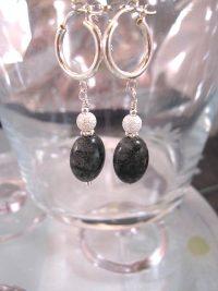 Creoler örhängen med Rutilkvarts o silverpärlor - Oval