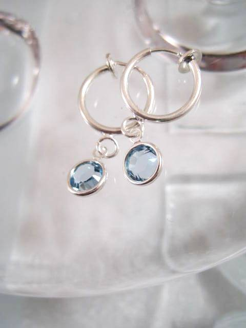 Clips creoler örhängen med Swarovskikristaller - Ljusblå