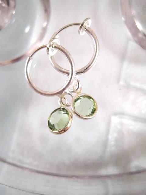 Clips creoler örhängen med Swarovski kristaller - Ljusgrön