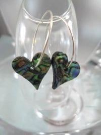 Creoler örhängen med Abalone - Paua snäcka Hjärtan