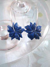 Creoler örhängen med Lapis Lazuli blommor