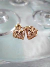 Örhängen med Strass - Diamantform/Roseguld