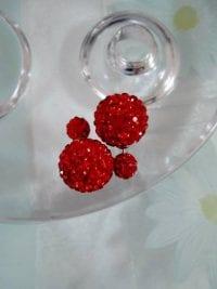 Dubbelpärlor örhängen med Strass - Röd/Shamballa