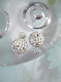 Dubbelpärlor örhängen med Strass - Vit/Shamballa