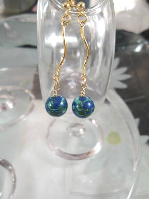 Guld o Azurit-Malakit pärlor örhängen - 14K GF/Blå/Grön/Studs