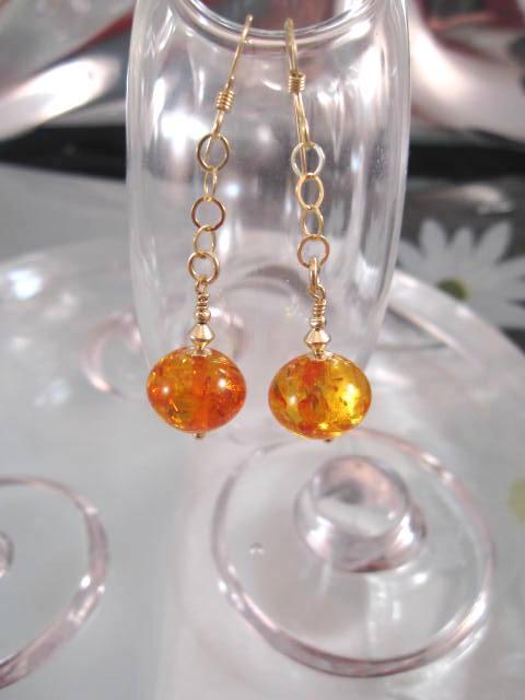 Guld o Bärnsten Harts örhängen - 14K GF/Orange