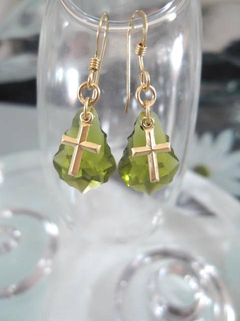 Guld o Swarovskikristaller örhängen - 14K GF/Barock/Kors