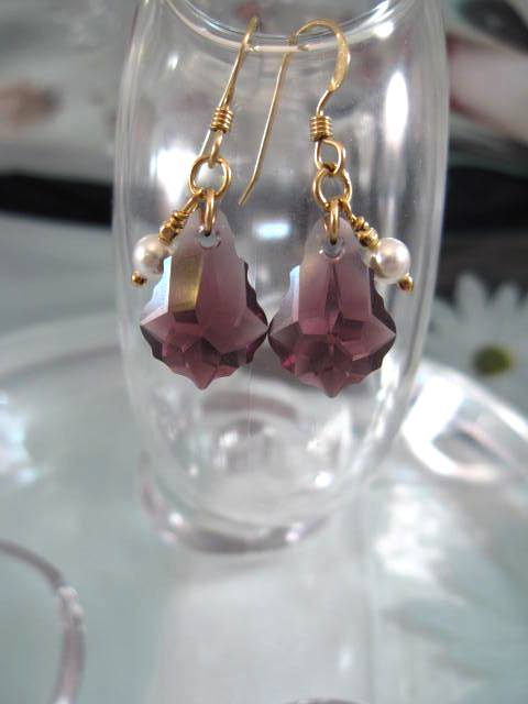 Guld o Swarovskikristaller örhängen - 14K GF/Barock/Ametist