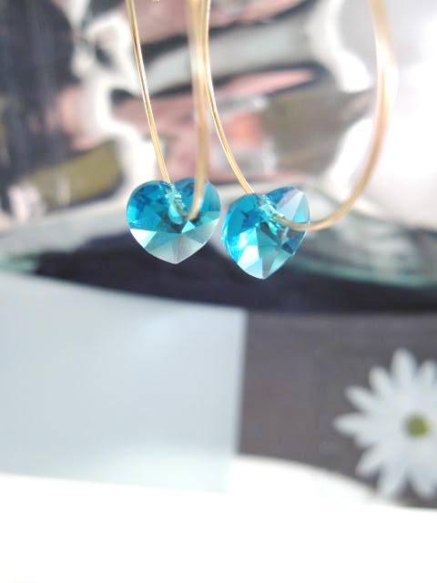 Guld o Swarovskikristaller örhängen - 14K GF/Creoler/Turkos