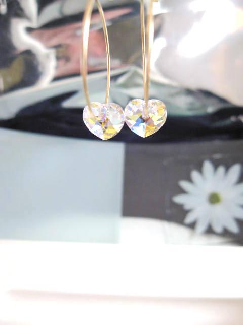 Guld o Swarovskikristaller örhängen - 14K GF/Creoler