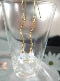 Guld o Opalit örhängen - 14K GF/Fasett/Droppe