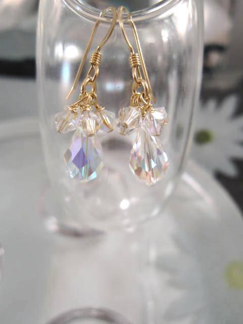 Guld o Swarovskikristaller örhängen - 14K GF