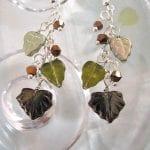 Långa Glaslöv örhängen - Grön/Brun