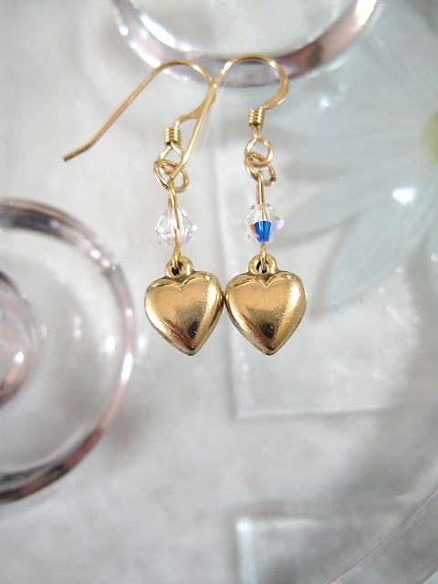 Guld o Swarovskikristaller örhängen - 14K GF/Hjärtan