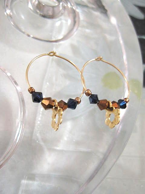 Guld, Swarovski o Tjeckiska kristaller örhängen - 14K GF/Creoler/Blomma