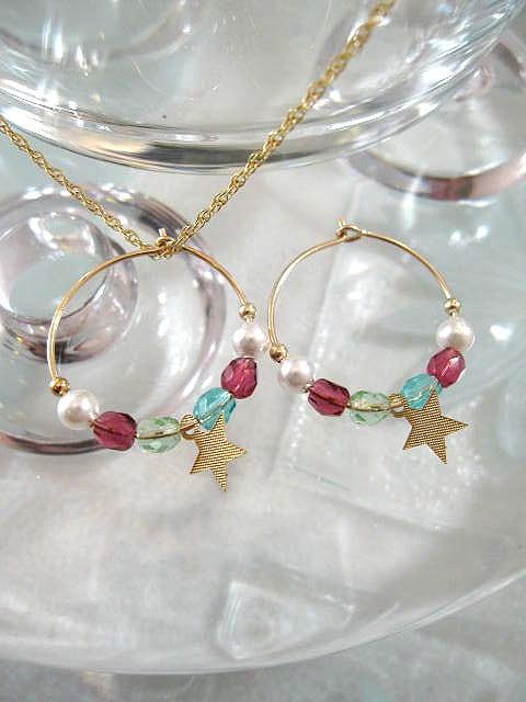 Guld, Swarovskipärlor o kristaller örhängen - 14K GF/Creoler/Stjärna