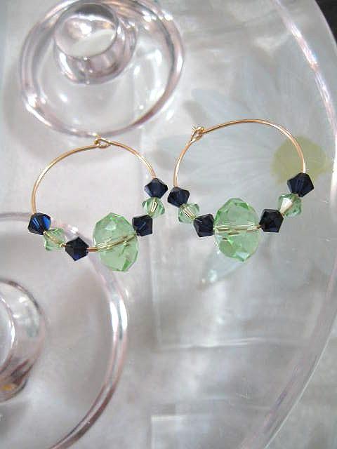 Guld o Swarovskikristaller örhängen - 14K GF/Creoler/Blå/Grön
