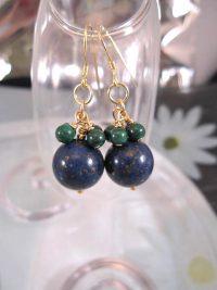 Guld, vermeil örhängen med Lapis Lazuli o Malakit