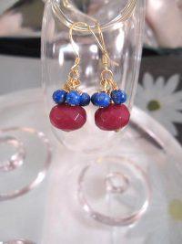 Guld, Vermeil örhängen med Rubinkvarts o Lapis Lazuli - Fasett