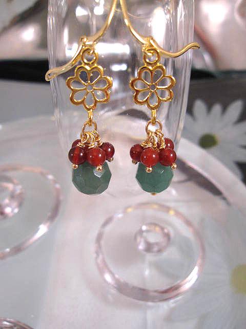 Guld, Vermeil örhängen med Smaragder o Karneoler - Fasett/Grön