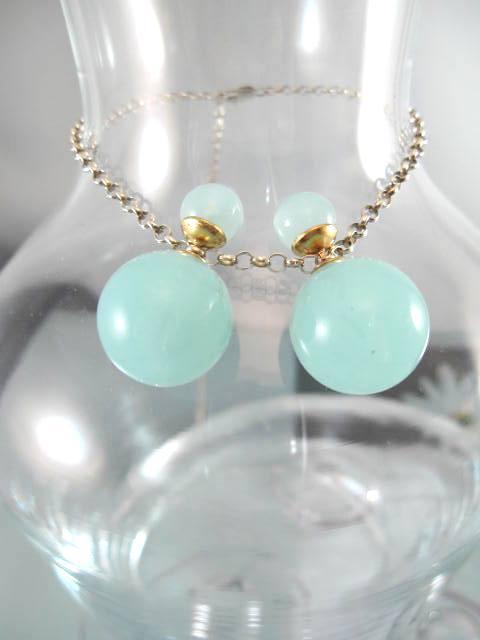 Dubbelpärlor örhängen - Havsgrön