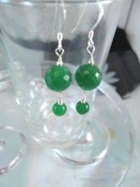 Jade örhängen - Grön/Fasett/Pärlor/Smaragd/Länkad