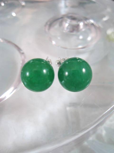 Jade örhängen - Grön/Studs/Pärlor 12 mm