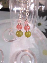 Körsbärskvarts o Jade örhängen - Oliv