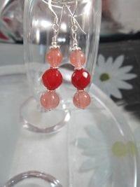 Körsbärskvarts örhängen - Pärlor