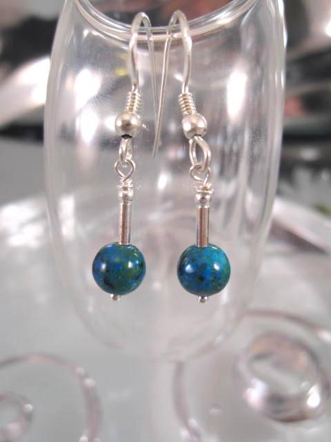 Krysokolla örhängen - 2 Pärlor/Stavar