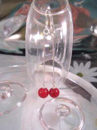 Långa Jade örhängen - Pärlor/Röd