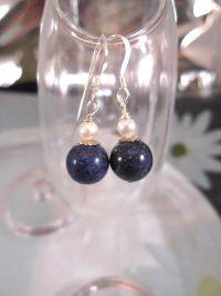 Lapis Lazuli o Sötvattenspärlor örhängen - Blå/Vit