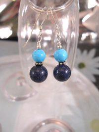 Lapis Lazuli o Turkoser örhängen - Pärlor/Blå