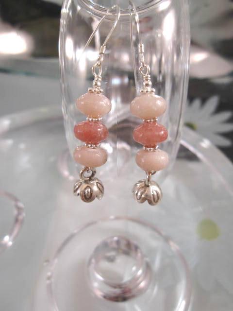 Opal örhängen - Rosa/Blomma
