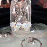 Långa Opalit på kedja örhängen - Fasett/Klase/Ljusblå