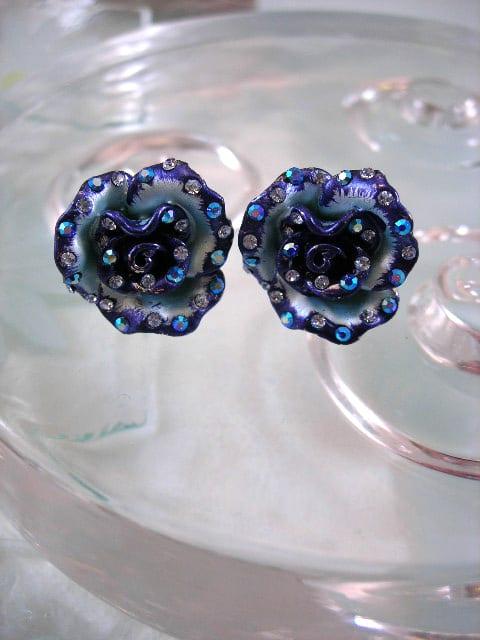 Emaljerade blå örhängen med Kristaller - XL/Kristall/Blomma/Rosor