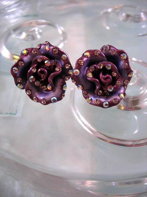Emaljerade lila örhängen med Kristaller - XL/Kristall/Blomma/Rosor