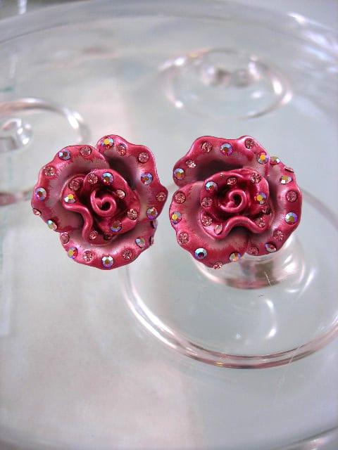Emaljerade rosa örhängen med Kristaller - XL/Kristall/Blomma/Rosor