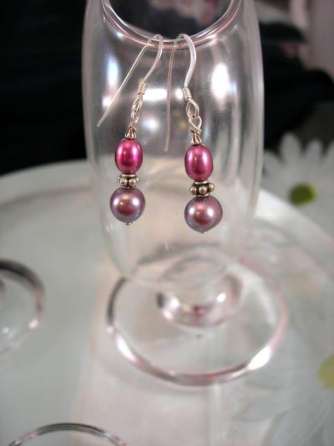 Sötvattenspärlor örhängen - Rosa/Lila