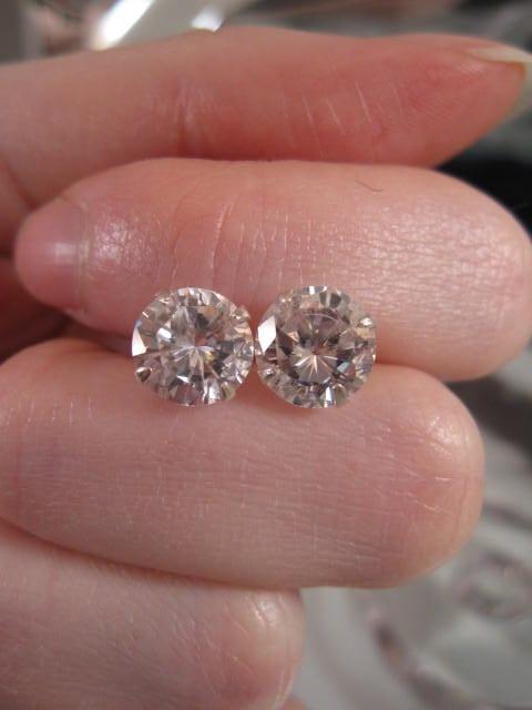 """Cubic Zirkon örhängen """"Diamant"""" - 9 mm/Studs/Rund"""