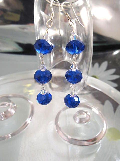 Långa Swarovskikristall örhängen - Länkade/Koboltblå/Vit