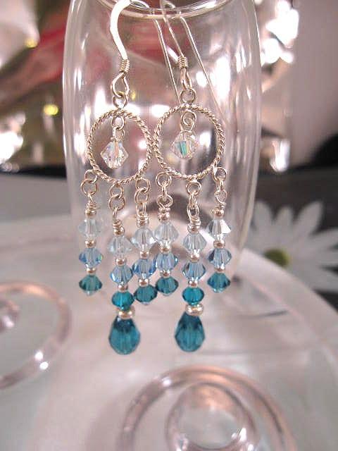 Swarovskikristall örhängen - Havsblå/Chandelier
